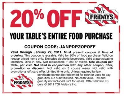 image relating to Tgi Fridays Printable Coupons called Printable discount coupons for tgi fridays / Van heusen outlet coupon